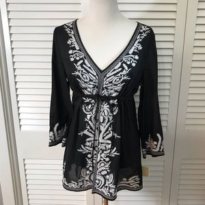 MICHAEL Michael Kors Black+White Embroidered Tunic